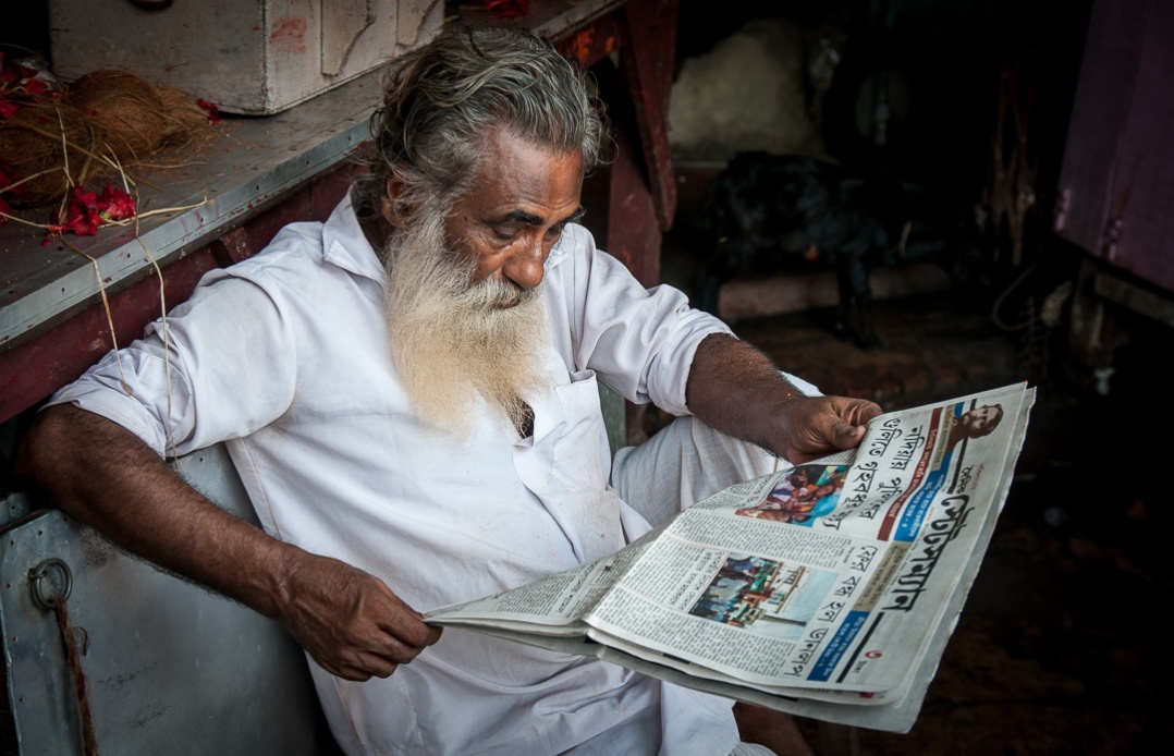 Calcutta Man Reading Newspaper